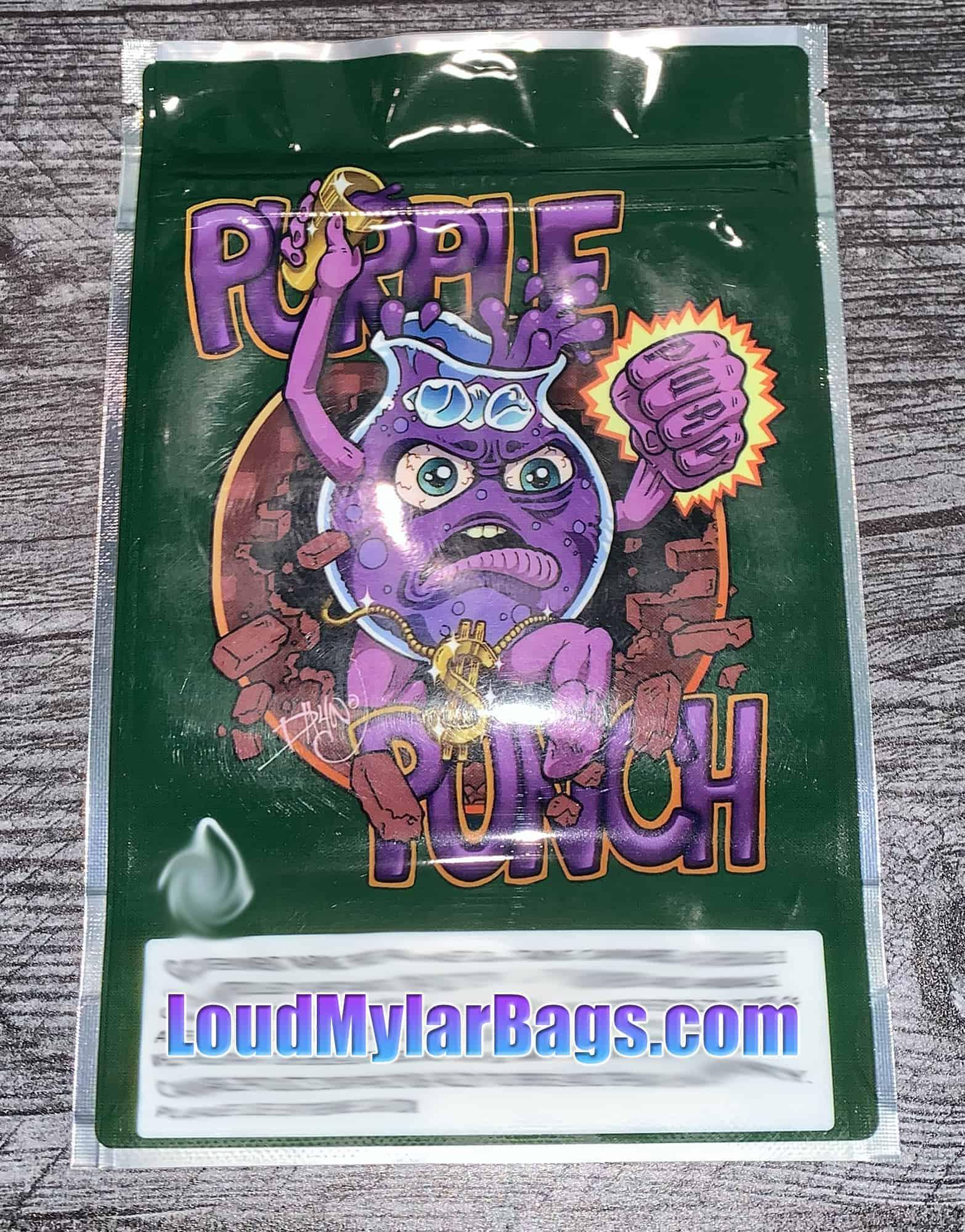 Empty Smell-Proof Mylar Bags Purple Alien OG 7g 30 Bags